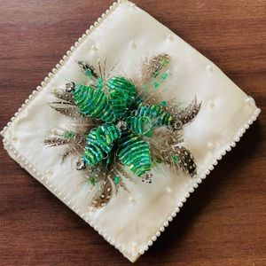 Vintage | 1960s Beaded + Feathered Brooch